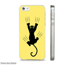 FUNNY BLACK CAT SCRATCH ART CASE FITS IPHONE 4 4S 5 5S 5C 6 6S 7 8 SE PLUS X S