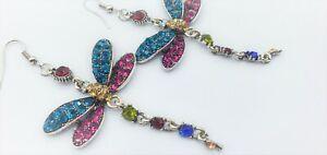 Gorgeous Dragonfly Rhinestone Hook Earrings Easter Gift.