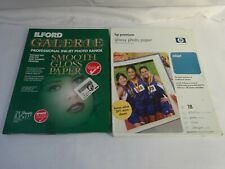 """ILFORD GALERIE & HP Photo PAPER Glossy -34 Sheets 8.5"""" x 11"""" JA"""