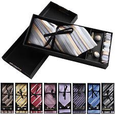 5er Set Herren Krawatte Geschenkebox Einstecktuch Nadel Manschettenknöpfe Anzug