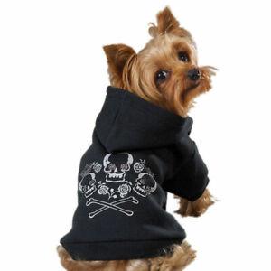 Dog Hoodies Rhinestone Crowned Skull Crossbone Bad To The Bone Black Pet Sweater