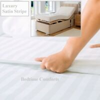 """ELECTRIC BED SMALL SINGLE FITTED SHEET 2'6"""" x 6' 6"""" x 10"""" Quality SATIN STRIPE"""