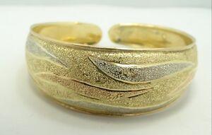 """18K Tri Color Gold Wavy Dia. Cut Sparkly Cuff Bracelet 6.75-7"""" 20.6g D5596"""