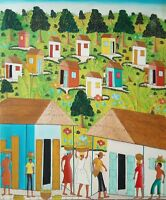 Original Haitian Folk Art Naif Painting by Cyrill Desprez Haiti Village 24X20