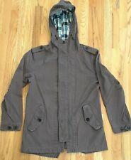 Men's Grey Nixon Medium Jacket Pockets Hood Zip Snap Drawstring 100% Cotton