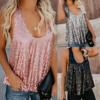 Fashion Women Sparkle Shimmer Sequin Sleeveless Loose Tank Fitted  Blouse Vest