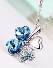 New Silver Clover Pendant Aquamarine Blue Crystals from Swarovski Chain Jewelry