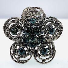 USA Vintage Flower Hair Claw Clip Rhinestone Crystal Hairpin Elegant Black Gray