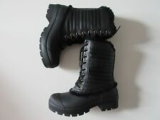 NIB HUNTER Original Shearling Lined Pac in Black Lace-up Rain Boots US 6 $235