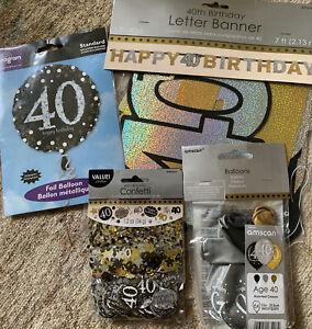40th Birthday Decoration Bundle Black Gold Balloons Confetti Bunting Amscan