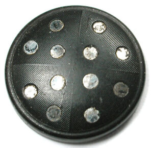 """Antique Horn Button with Grid Shape Steel Disc Inserts OME - 7/8"""""""