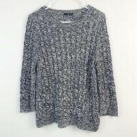 Eileen Fisher Cable Knit Crew Neck Open Knit Lightweight Sweater Womens Size M