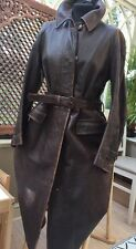 TRUE VINTAGE 1930's HARRODS LADIES MILITARY TRENCH COAT HEAVY LEATHER LARGE 18