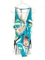 Trina Turk, Women's High Leg V-Front One Piece Swimsuit, Floral, Size 6, Blue