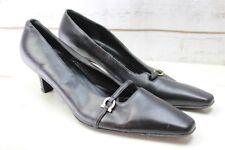 Ferragamo 7 B Black Leather Heels Women's Shoes