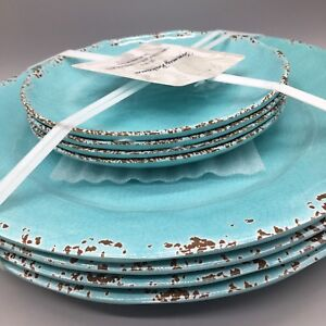 8pc Tommy Bahama Melamine 4 Dinner Appetizer Plate Set Turquoise Rustic Tuscan