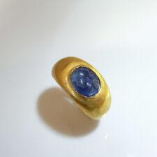 2ND C AD ANCIENT ROMAN Blue Sapphire Intaglio Signet Seal Ring 22K Unisex Mens