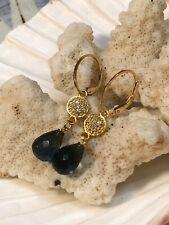 14k Yellow Gold Pave Diamond London Blue Topaz briolette earrings