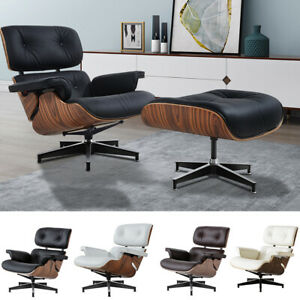 Genuine natural leather Lounge chair and ottoman plywood Armchair Club Recliner