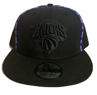 New York Knicks New Era 9Fifty Black Logo Court Snapback Hat NBA Cap Blue Trim