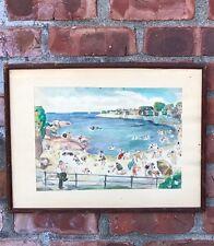 1941 Signed Watercolor. Long Beach Gloucester Beach Scene. Michael Kelly