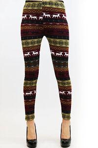 Women's Slim Print New Winter Thick Warm Leggings Pants Fleece Lined Stretchy