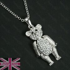 CUTE crystal 3cm TEDDY BEAR moveable limbs PENDANT&CHAIN necklace SILVER PLATED