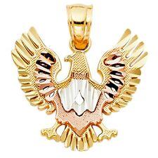 14k Tri-tone Gold Polished Eagle Pendant