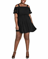 City Chic Trendy Woman's Cold-Shoulder Dress (Black, 24W) (804)