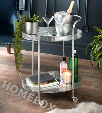 Deco Glamour Drinks Trolley Silver with 2 Mirrored Shelves Art Deco Theme