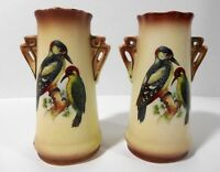 Vtg Pair of Vases Bird Design Red Stamp Made in Czechoslovakia Mission Style