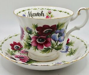 Royal Albert Flower Of The Month Anemones March Tea Cup & Saucer Bone China