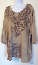 CATHERINE'S EARTH TONE PAISLEY BLOUSE PLUS SIZE 22/24W EUC FREE SHIP