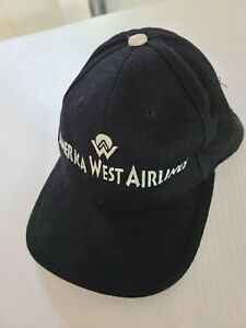 AMERICA WEST AIRLINES BASEBALL CAP NEW. (  BLACK ) UNUSED. 100% COTTON.