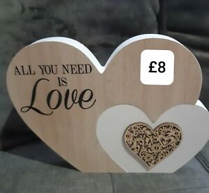 Heart Ornament wooden all you need is love