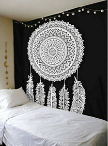 Black White Home Room Art Decor Tapestry Wall Hanging Mandala Feather Tapestry