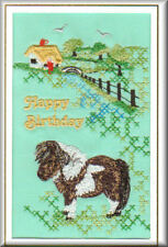 Shetland Pony Birthday Card Embroidered by Dogmania
