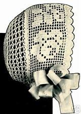 Vintage Antique Baby Cap Hat Bonnet Crochet PATTERN