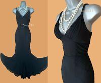 KAREN MILLEN UK 10 Black Silk Braided Straps Mermaid Style Cocktail Midi Dress