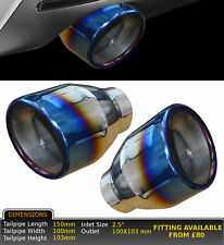"""2x UNIVERSAL BURNT TIP STAINLESS STEEL EXHAUST TAILPIPE 2.5"""" IN GW-ET030-P-DAI"""
