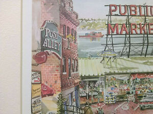 Vintage Pike's Place Seattle Market signed numbered painting watercolor art!