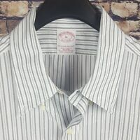 BROOKS BROTHERS Mens White Striped S/S Dress Shirt size 16 Traditional Non Iron