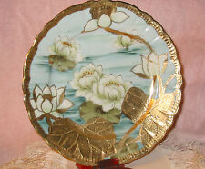 I E & C Co IECO Nippon Era Hand Painted Plate Gold & White Lily Pads & Flowers