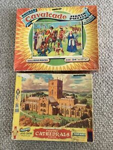 vintage antique jig-saw jigsaw puzzle Philmar X2 England Falconry - Cathedrals