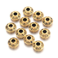 100x Antique Golden Tibetan Alloy Spacer Bicone Beads Nickel Free Spacer 6.5x6mm