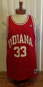 VTG 90s Champion #33 Larry Bird Indiana Hoosiers Basketball Jersey Red Size 48