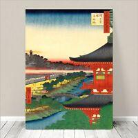"Beautiful Japanese Art ~ CANVAS PRINT 24x18"" ~ Hiroshige Temple at Akabane"