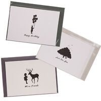6pcs Vintage Birthday Party Greeting Wish Blank Cards with Envelope Black White