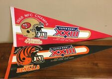 Two (2) 1989 Super Bowl Xxiii 23, Large 30in. Pennants, Bengals / 49ers