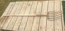 Vintage Farm Manure Fork / Hay Fork  , Wood Handle Primitive Farm Tool